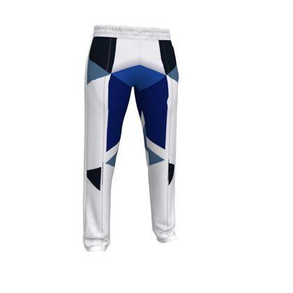 Mens Tracksuit Trousers - Geometric Triangles Blu