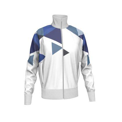 Mens Tracksuit Jacket - Geometric Triangles Blu