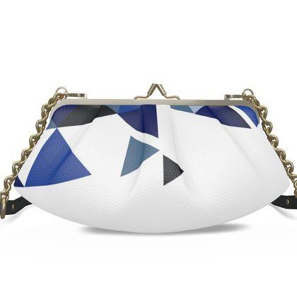 Large Pleated Frame Bag - Geometric Triangles Blu