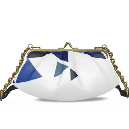 Small Pleated Frame Bag - Geometric Triangles Blu