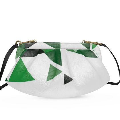 Large Pleated Soft Frame Bag - Geometric Triangles Green