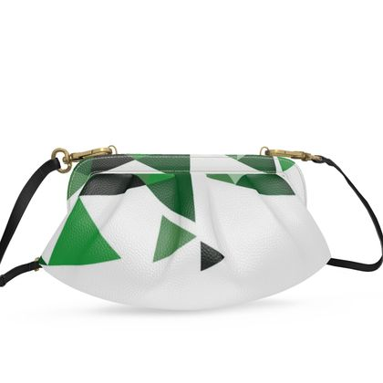 Small Pleated Soft Frame Bag - Geometric Triangles Green