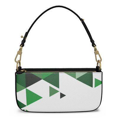 Medium Zip Box Bag - Geometric Triangles Green