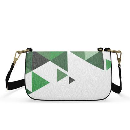 Small Zip Box Bag - Geometric Triangles Green