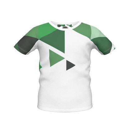 Boys Simple T-Shirt - Geometric Triangles Green