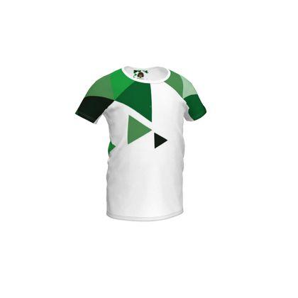 Girls Simple T-Shirt - Geometric Triangles Green