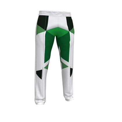 Mens Tracksuit Trousers - Geometric Triangles Green
