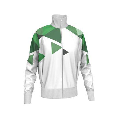 Mens Tracksuit Jacket - Geometric Triangles Green