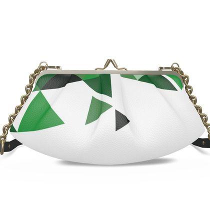 Large Pleated Frame Bag - Geometric Triangles Green