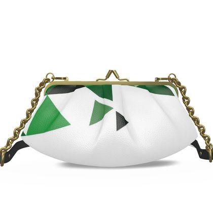Small Pleated Frame Bag - Geometric Triangles Green