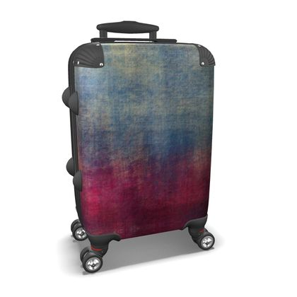 Scotch - Suitcase- Scottish plaid, woolen, red and blue, bright, eye-catchy art, brush strokes, energetic, spectacular, punk, grunge, abstract, unique gift  - design by Tiana Lofd