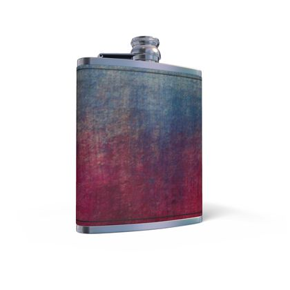 Scotch - Leather Wrapped Hip Flask - Scottish plaid, woolen, red and blue, bright, eye-catchy art, brush strokes, energetic, spectacular, punk, grunge, abstract, unique gift  - design by Tiana Lofd