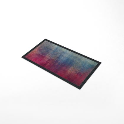 Scotch - Bar Runner Mat - Scottish plaid, woolen, red and blue, bright, eye-catchy art, brush strokes, energetic, spectacular, punk, grunge, abstract, unique gift  - design by Tiana Lofd