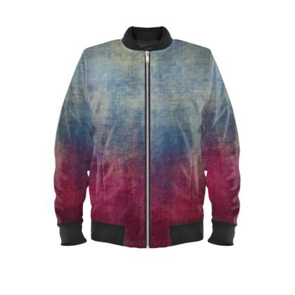 Scotch - Mens Bomber Jacket - Scottish plaid, woolen, red and blue, bright, eye-catchy art, brush strokes, energetic, spectacular, punk, grunge, abstract, unique gift  - design by Tiana Lofd