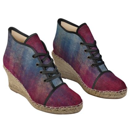 Scotch - Ladies Wedge Espadrilles - Scottish plaid, woolen, red and blue, bright, eye-catchy art, brush strokes, energetic, spectacular, punk, grunge, abstract, unique gift  - design by Tiana Lofd