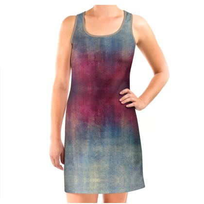 Scotch - Vest Dress - Scottish plaid, woolen, red and blue, bright, eye-catchy art, brush strokes, energetic, spectacular, punk, grunge, abstract, unique gift  - design by Tiana Lofd