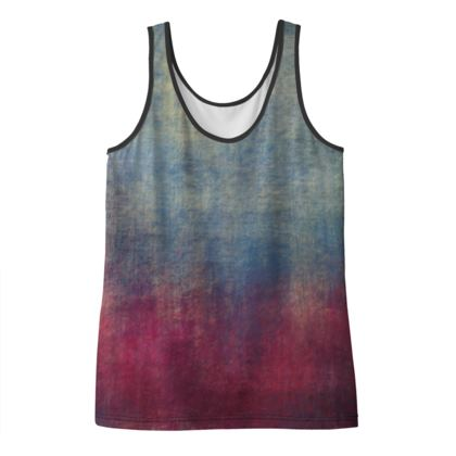 Scotch - Ladies Vest Top - Scottish plaid, woolen, red and blue, bright, eye-catchy art, brush strokes, energetic, spectacular, punk, grunge, abstract, unique gift  - design by Tiana Lofd