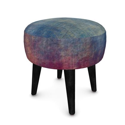 Scotch - Footstool (Round, Square, Hexagonal) - Scottish plaid, woolen, red and blue, bright, eye-catchy art, brush strokes, energetic, spectacular, punk, grunge, abstract, unique gift  - design by Tiana Lofd