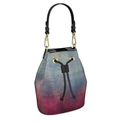 Scotch - Bucket Bag - Scottish plaid, woolen, red and blue, bright, eye-catchy art, brush strokes, energetic, spectacular, punk, grunge, abstract, unique gift  - design by Tiana Lofd