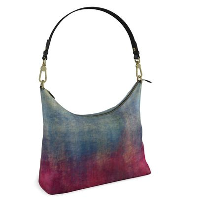 Scotch - Square Hobo Bag - Scottish plaid, woolen, red and blue, bright, eye-catchy art, brush strokes, energetic, spectacular, punk, grunge, abstract, unique gift  - design by Tiana Lofd