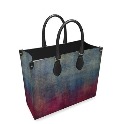 Scotch - Leather Shopper Bag - Scottish plaid, woolen, red and blue, bright, eye-catchy art, brush strokes, energetic, spectacular, punk, grunge, abstract, unique gift  - design by Tiana Lofd