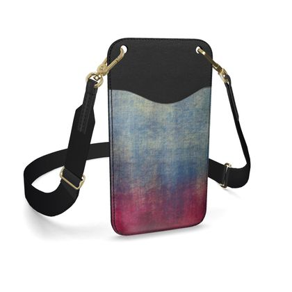 Scotch - Leather Phone Case With Strap - Scottish plaid, woolen, red and blue, bright, eye-catchy art, brush strokes, energetic, spectacular, punk, grunge, abstract, unique gift  - design by Tiana Lofd