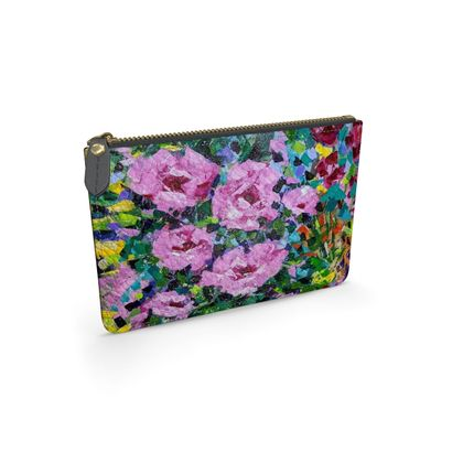Pink Flowers Leather Clutch Bag