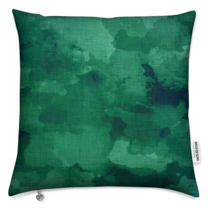Emerald and linen texture abstract pattern Cushions