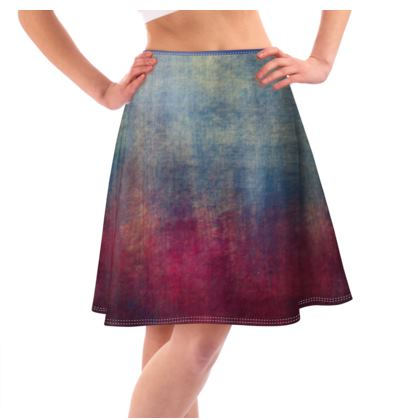 Scotch - Flared Skirt - Scottish plaid, woolen, red and blue, bright, eye-catchy art, brush strokes, energetic, spectacular, punk, grunge, abstract, unique gift  - design by Tiana Lofd