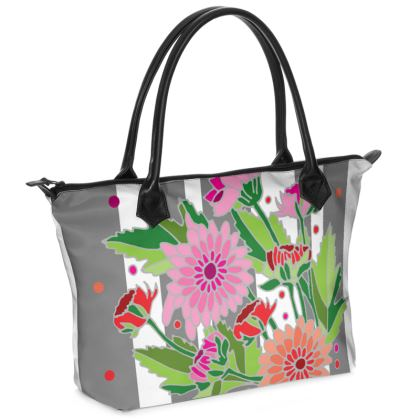Chrysanthemum Light Stripe Zip Top Handbag