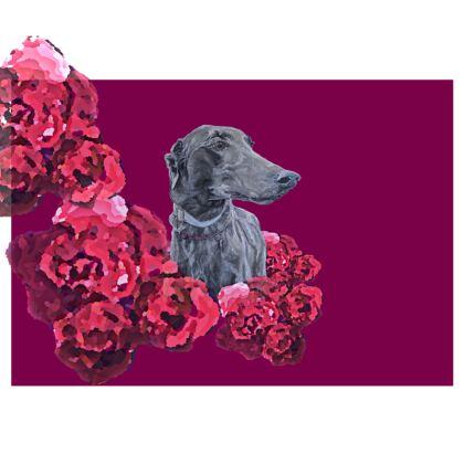 Lark the Greyhound Pink Floral Chair