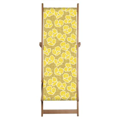Golden poppies - Deckchair Sling- yellow flowers, summer floral, flowering meadow, nature design, graphic, sun energetic - designed by Tiana Lofd