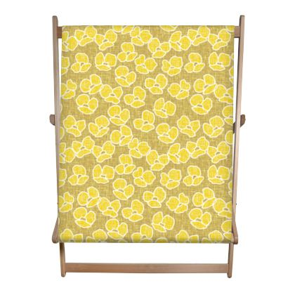Golden poppies - Double Deckchair - yellow flowers, summer floral, flowering meadow, nature design, graphic, sun energetic - designed by Tiana Lofd