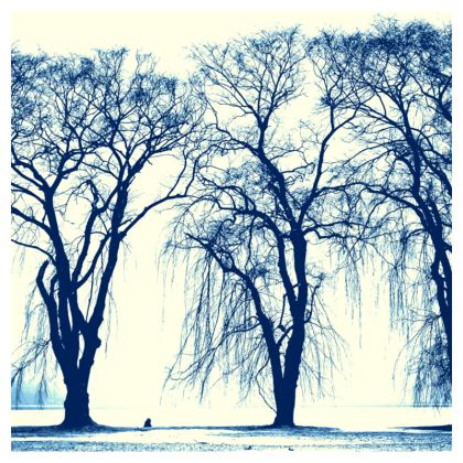 Blue Tree Zip Top Handbag