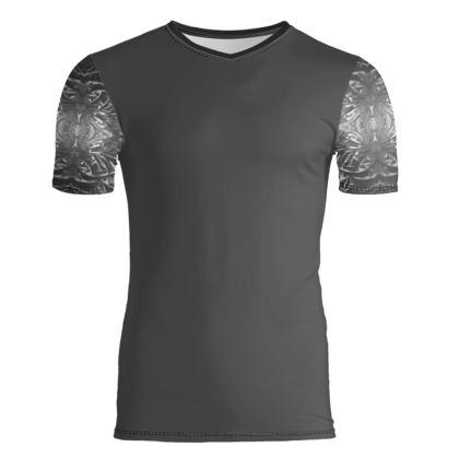Mens grey printed sleeve T-shirt