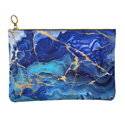 Leather Clutch Bag Blue and Gold Marble