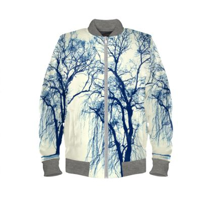 Blue Trees Ladies Bomber Jacket