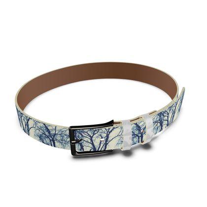 Blue Trees Leather Belt