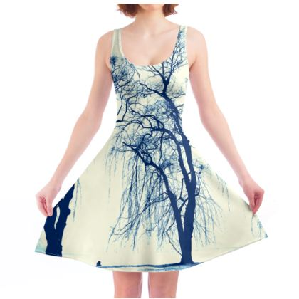Blue Trees Skater Dress