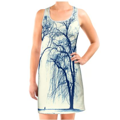 Blue Trees Vest Dress