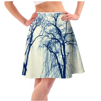 Blue Trees Flared Skirt