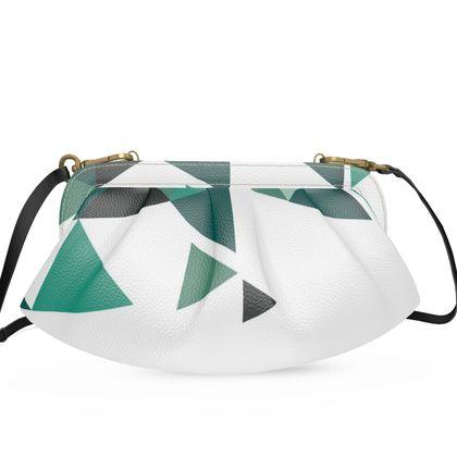Large Pleated Soft Frame Bag - Geometric Triangles Jade