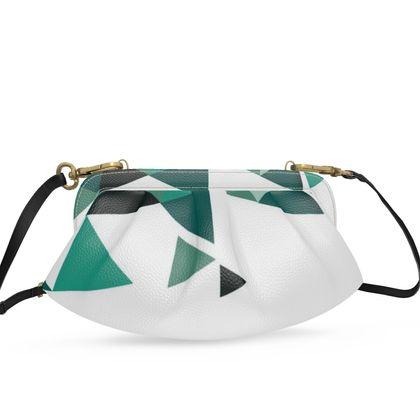 Small Pleated Soft Frame Bag - Geometric Triangles Jade
