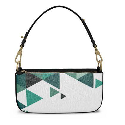Medium Zip Box Bag - Geometric Triangles Jade