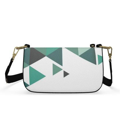 Small Zip Box Bag - Geometric Triangles Jade