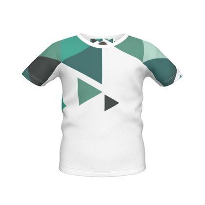 Boys Simple T-Shirt - Geometric Triangles Jade