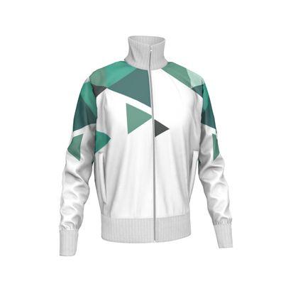 Mens Tracksuit Jacket - Geometric Triangles Jade
