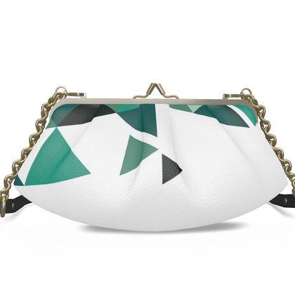 Large Pleated Frame Bag - Geometric Triangles Jade