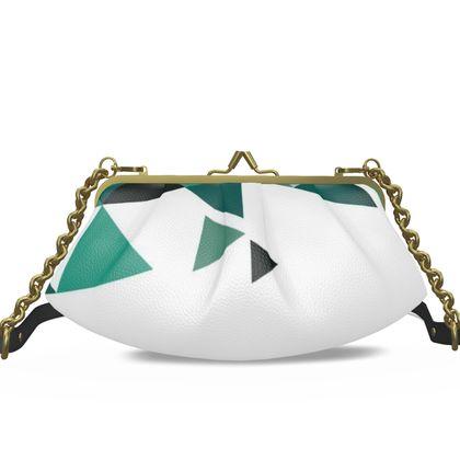 Small Pleated Frame Bag - Geometric Triangles Jade