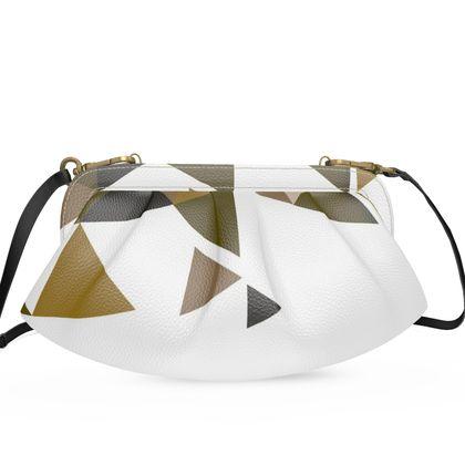 Large Pleated Soft Frame Bag - Geometric Triangles Orange